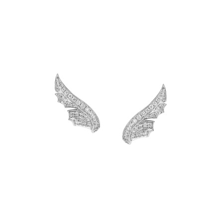 White Gold Pavé Feather Earstuds With White Diamonds | Magnipheasant