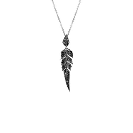 White Gold Short Pendant With Black Diamond Pavé | Magnipheasant