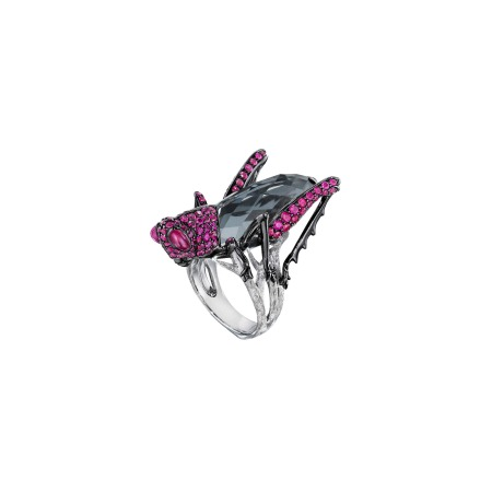 Hematite & Ruby Grasshopper Ring | No Regrets
