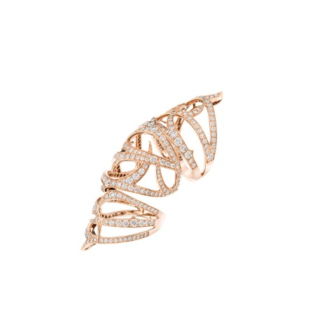 Long Rose Gold Finger Ring with White Diamond | Thorn
