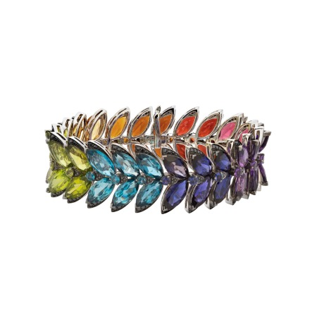 White Gold Feathers Bracelet With Mixed Stones   Magnipheasant