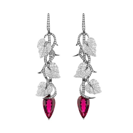 Poison Ivy Rubellite Long Earrings | No Regrets