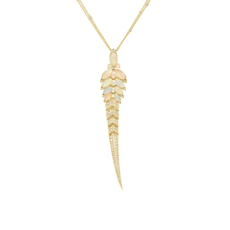 Yellow Gold Feathers Long Pendant With White Opal | Magnipheasant