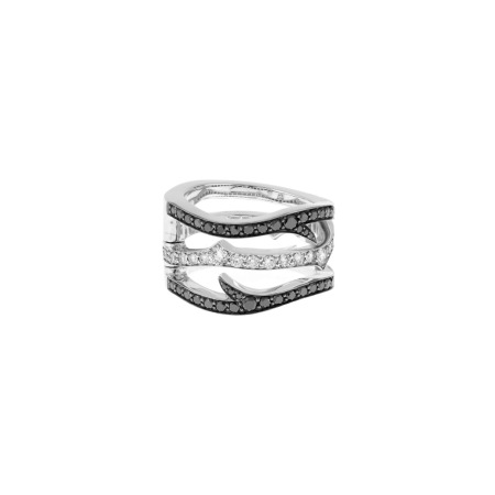 White Gold Convertible Ring with Black Diamond | Thorn