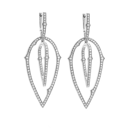 White Gold Large Hoop Earrings with White Diamond | Thorn