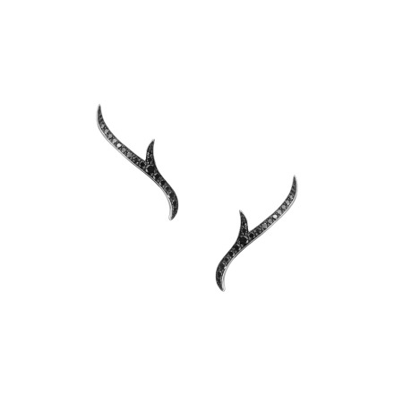 White Gold Stem Earstuds with Black Diamond | Thorn