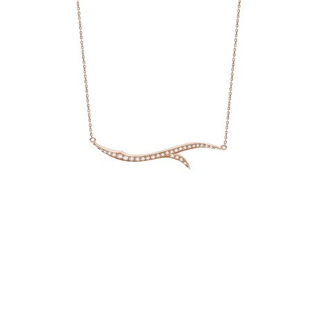 Rose Gold Stem Necklace with White Diamond | Thorn
