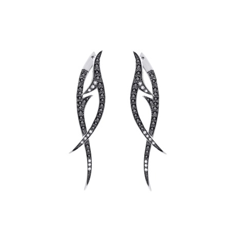 White Gold Drop Earrings with Black Diamond | Thorn