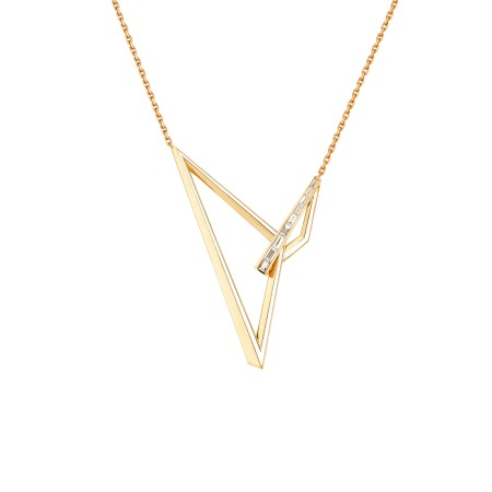Yellow Gold and White Diamond Very Obtuse Necklace | Vertigo