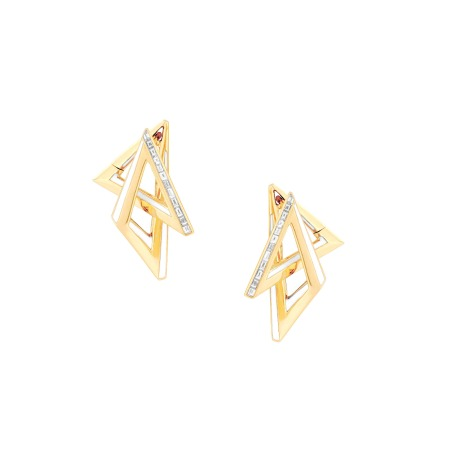 Yellow Gold and White Diamond Acute Hoops | Vertigo