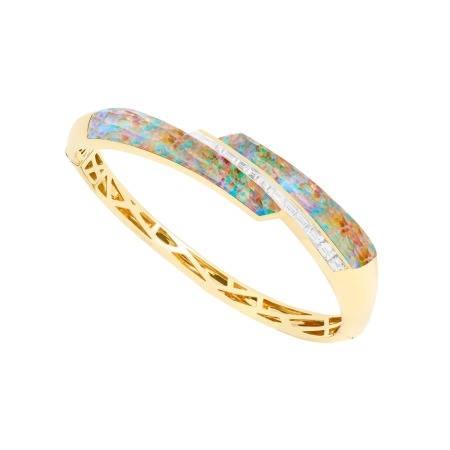 Fire Opalescent Crystal Haze Shard Bangle | CH₂