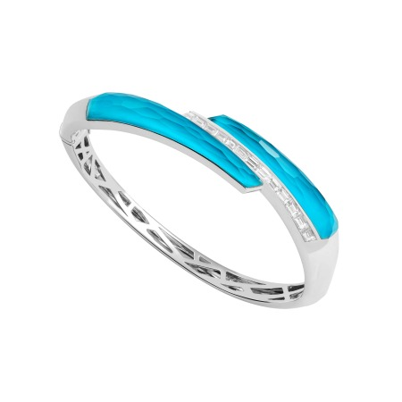 Dark Turquoise Crystal Haze Shard Bangle | CH₂