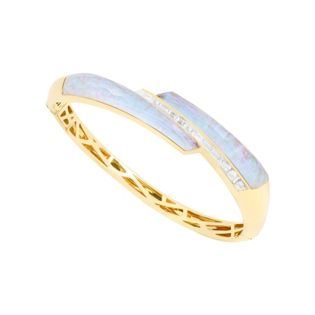 White Opalescent Crystal Haze Shard Bangle | CH₂