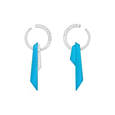 Dark Turquoise Crystal Haze Shard Hoop Earrings | CH₂