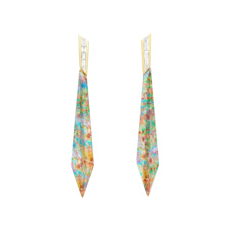 Fire Opalescent Crystal Haze Stiletto Earrings | CH₂