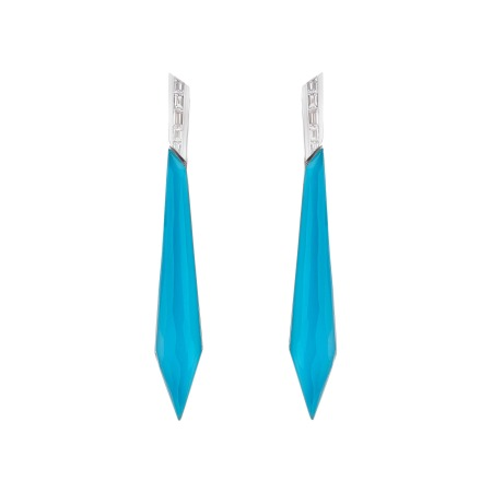 Dark Turquoise Crystal Haze Stiletto Earrings | CH₂