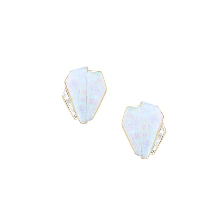 White Opalescent Crystal Haze Cuff Earrings | CH₂
