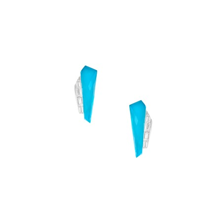 Turquoise Crystal Haze Slimline Cuff Earrings | CH₂