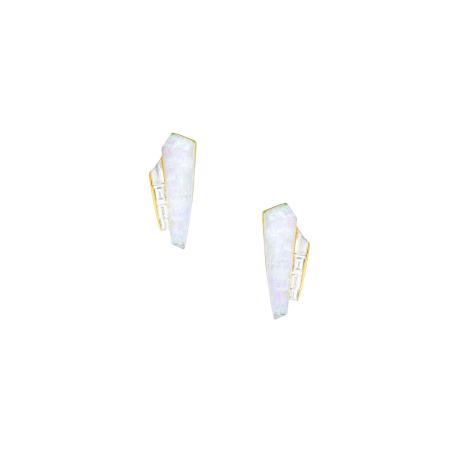 White Opalescent Crystal Haze Slimline Cuff Earrings | CH₂