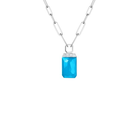 Turquoise Crystal Haze Tablet Twister Pendant | CH₂