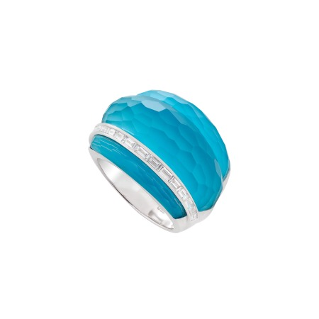 Dark Turquoise Crystal Haze Cocktail Ring | CH₂