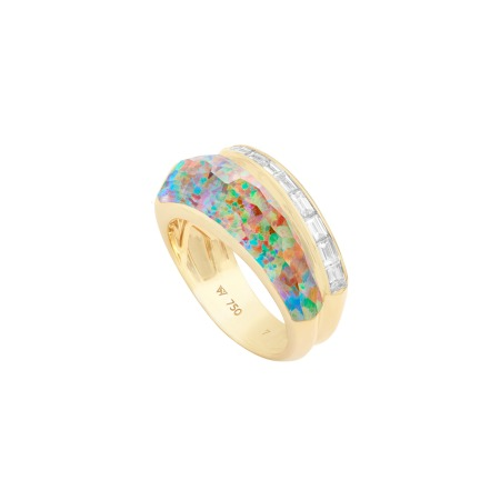 Fire Opalescent Crystal Haze Slimline Ring | CH₂