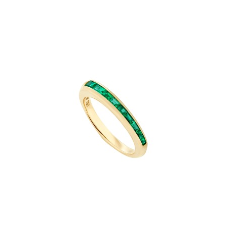 Emerald and Yellow Gold Baguette Stack Ring | CH₂