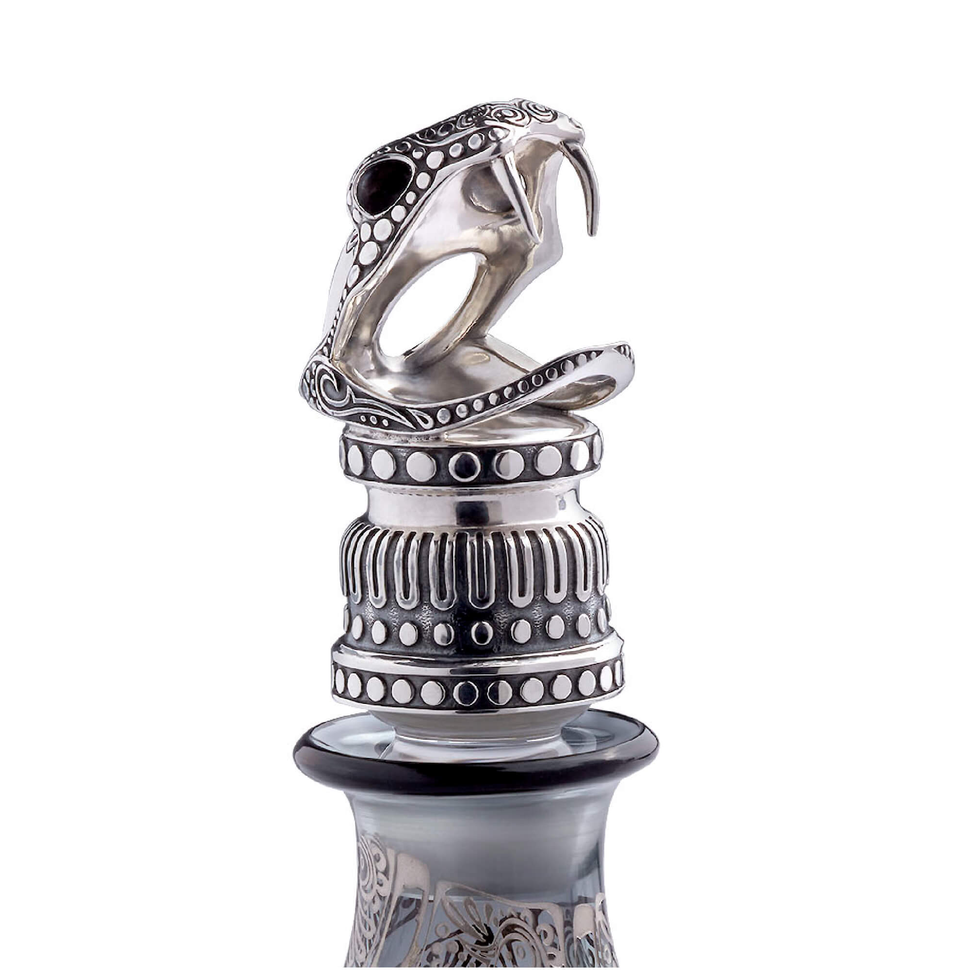 Glass Decanter with Silver Snake Topper | Stephen Webster