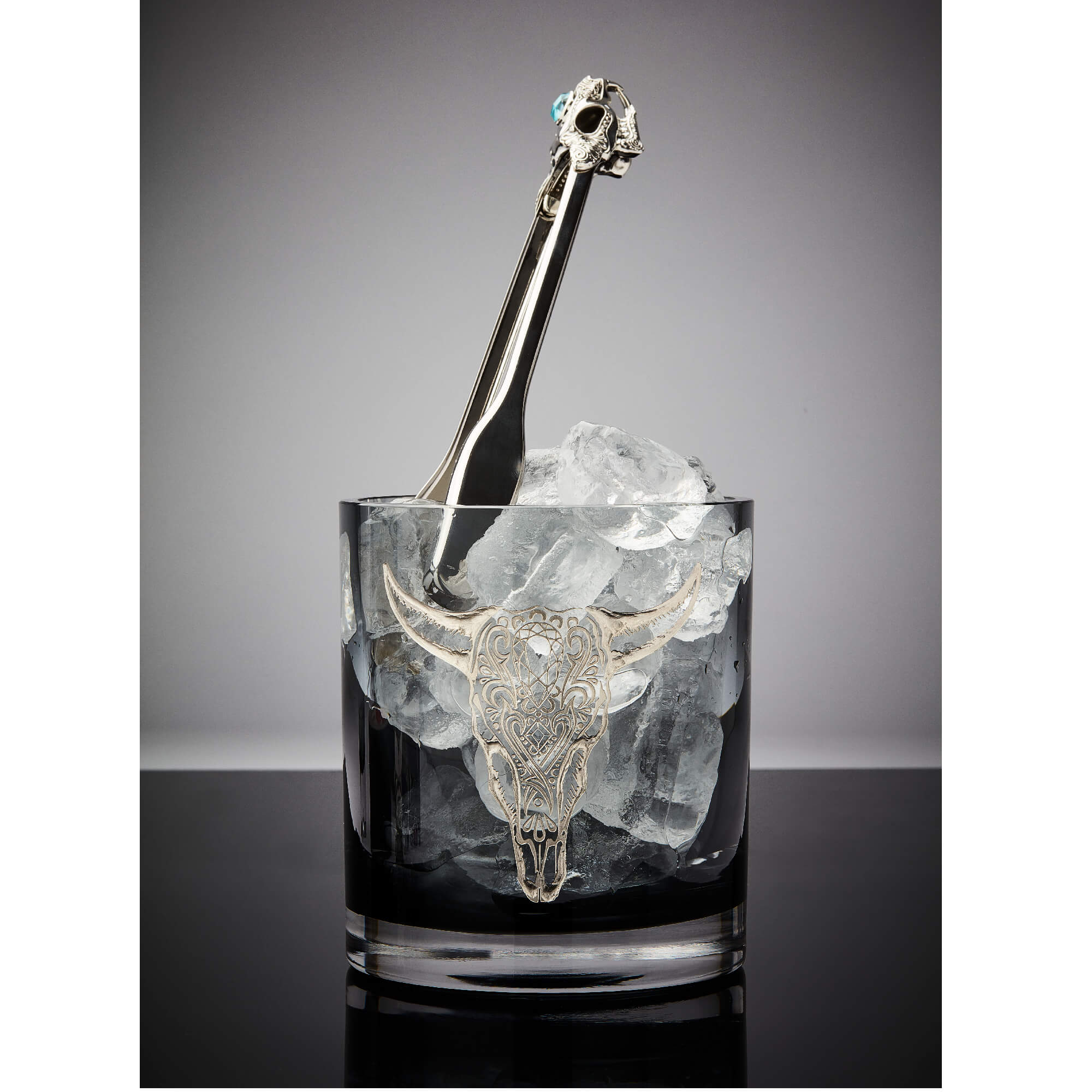 Smoke Glass Ice Bucket with Engraved Cow | Stephen Webster