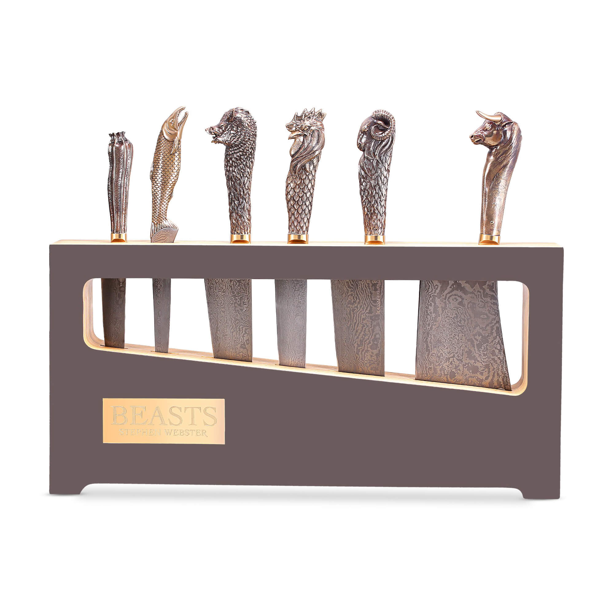 Set of 6 Bronze Beasts Chef Knives | Stephen Webster
