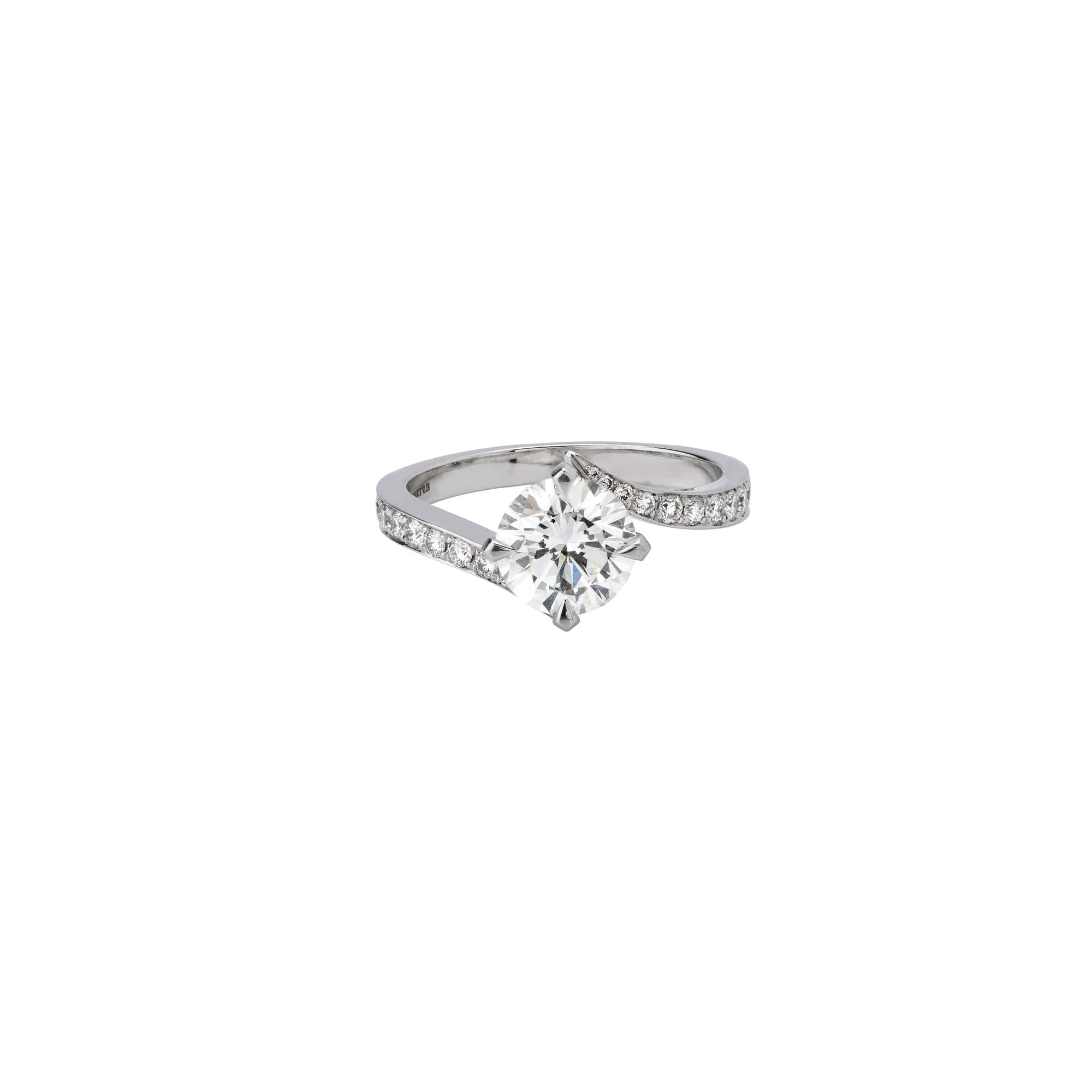 White Gold Interlocking Diamond Engagement Ring | Stephen Webster