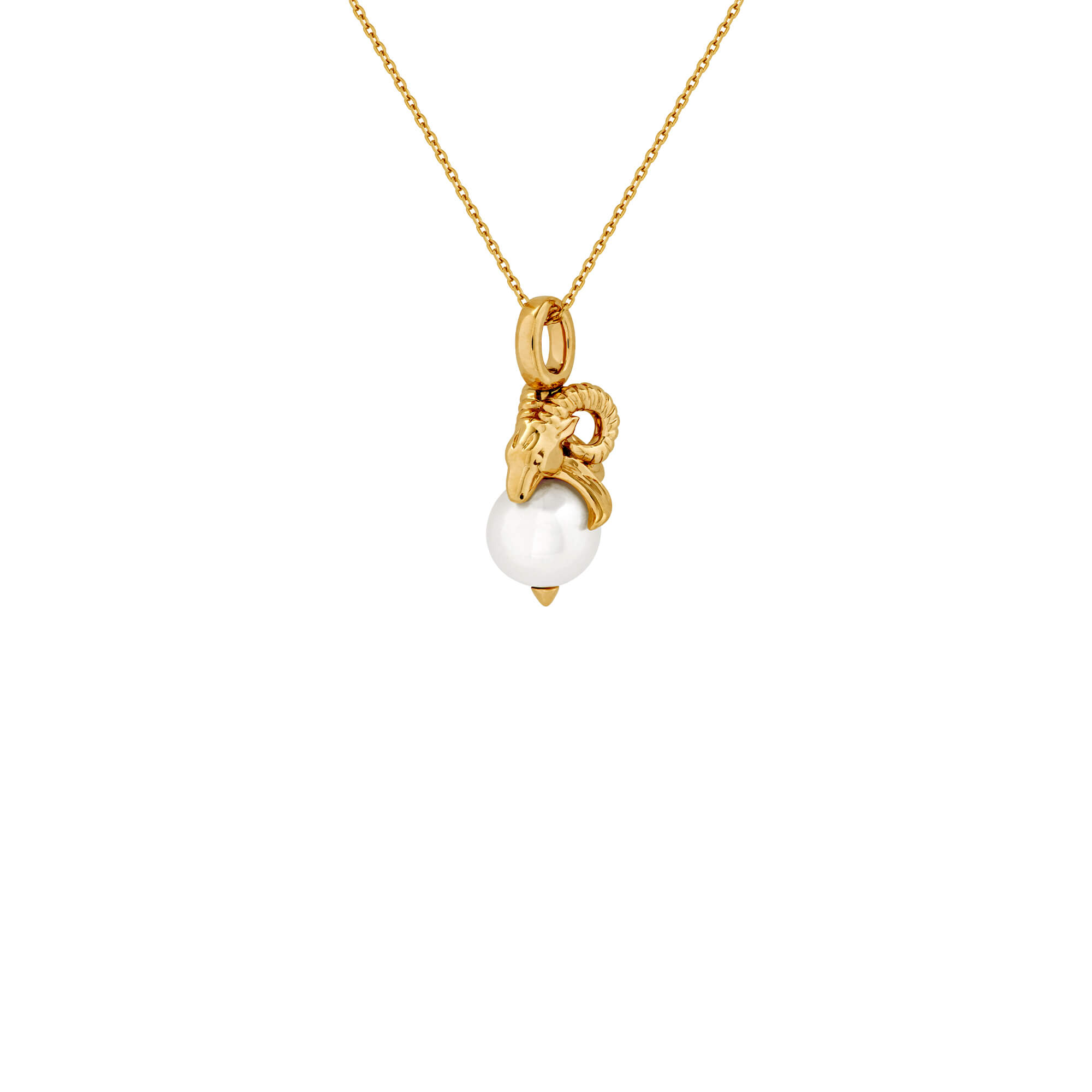 Capricorn Yellow Gold and White Pearl Necklace | Astro Balls