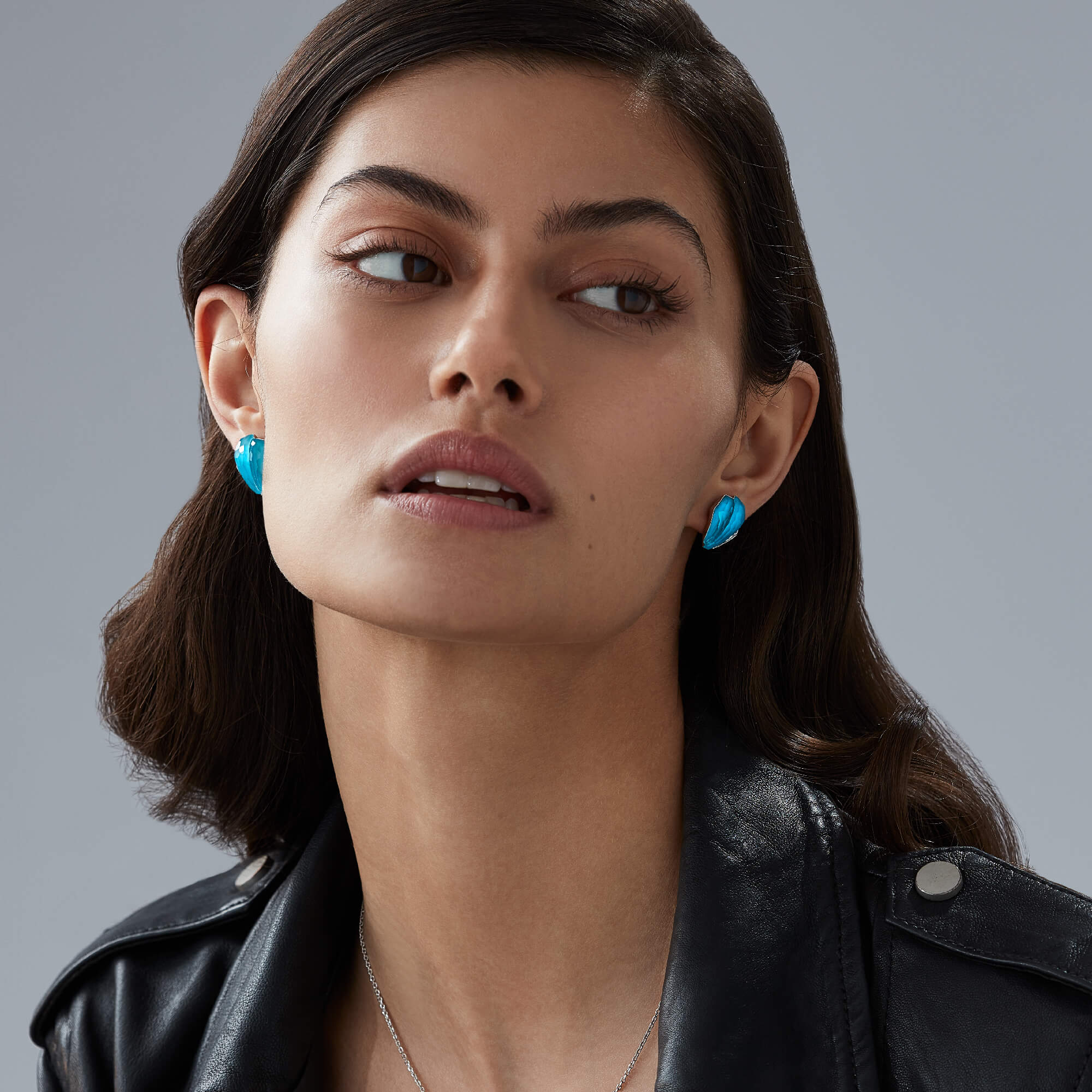 Turquoise Crystal Haze Cuff Earrings | CH₂