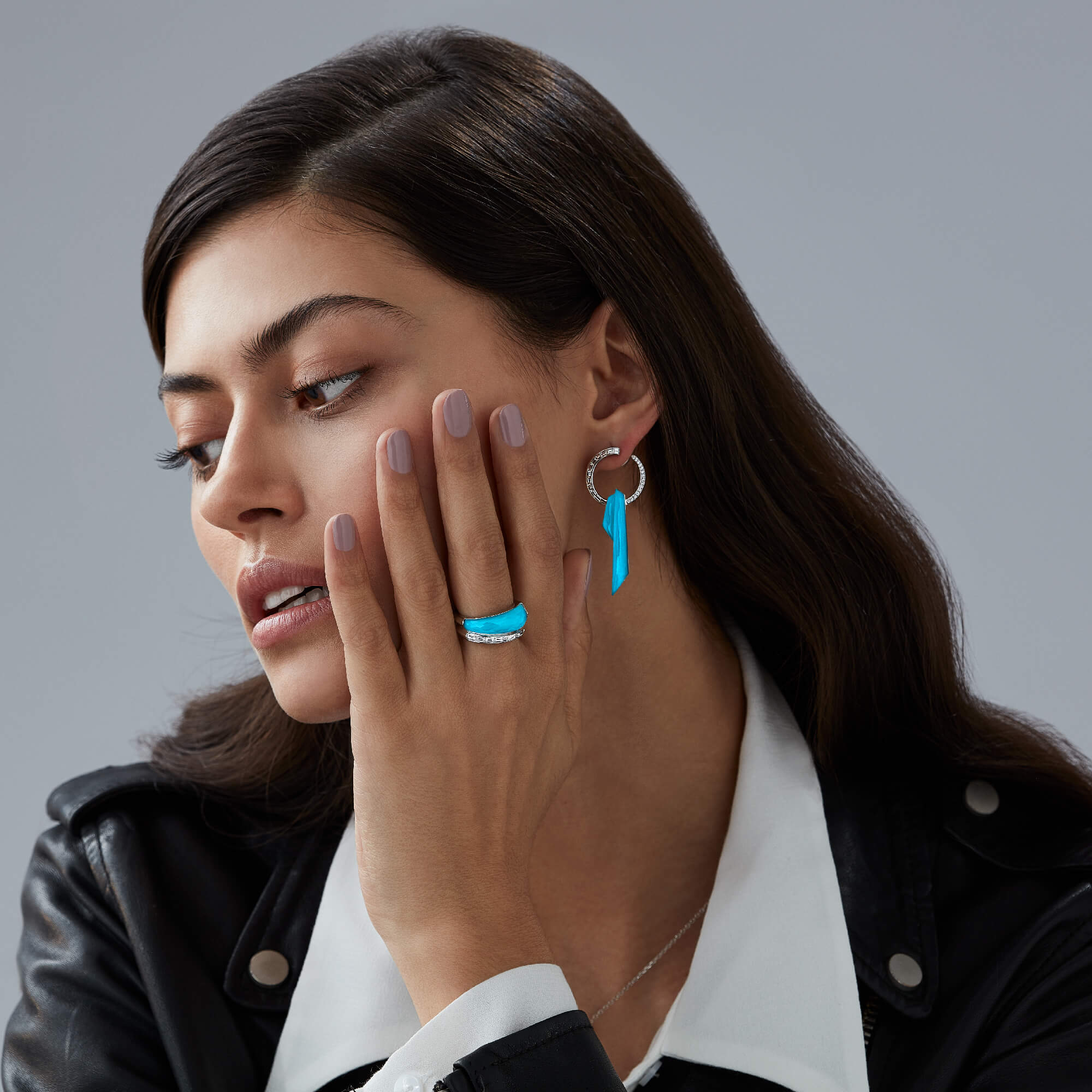 Turquoise Crystal Haze Shard Hoop Earrings | CH₂