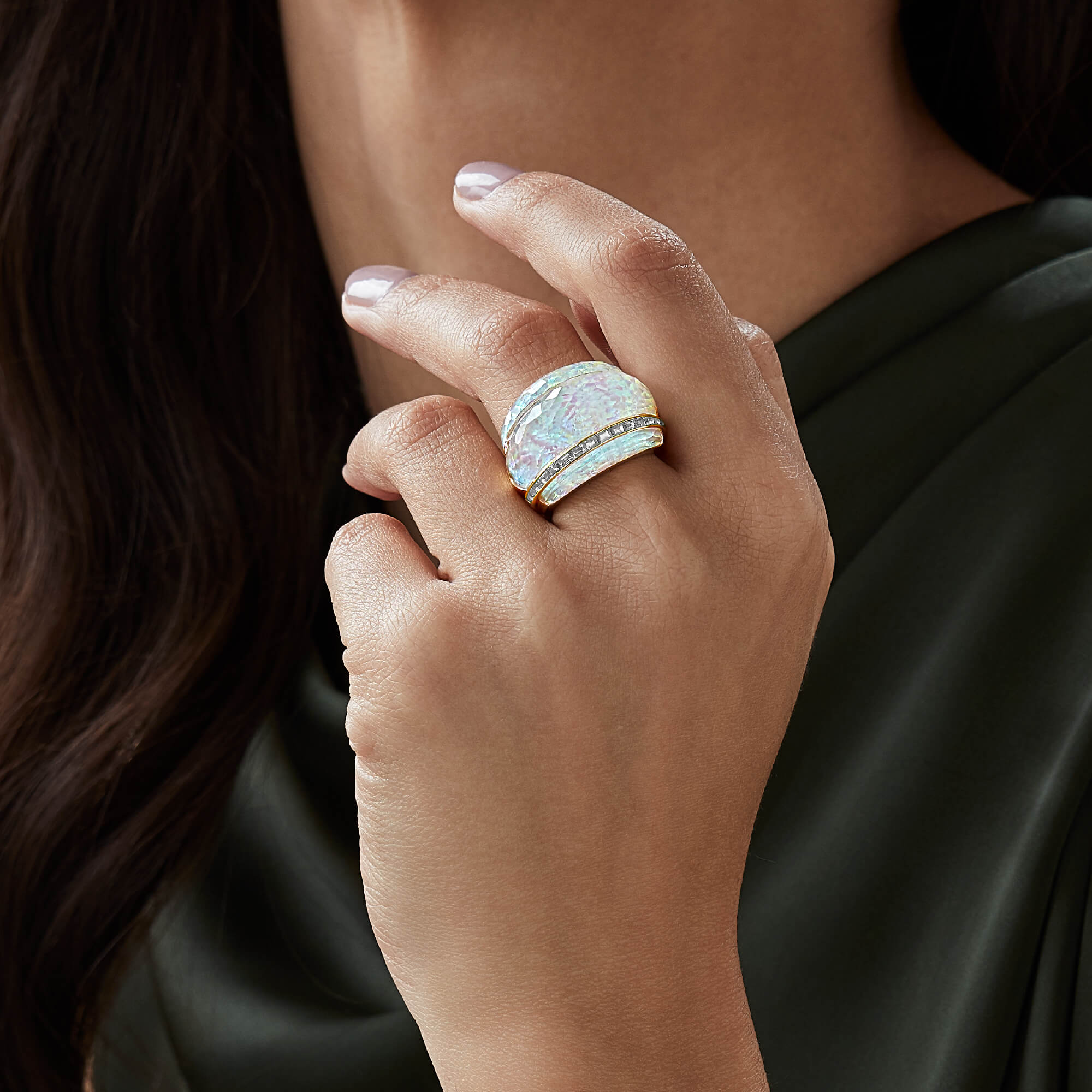 White Opalescent Crystal Haze Cocktail Ring | CH₂