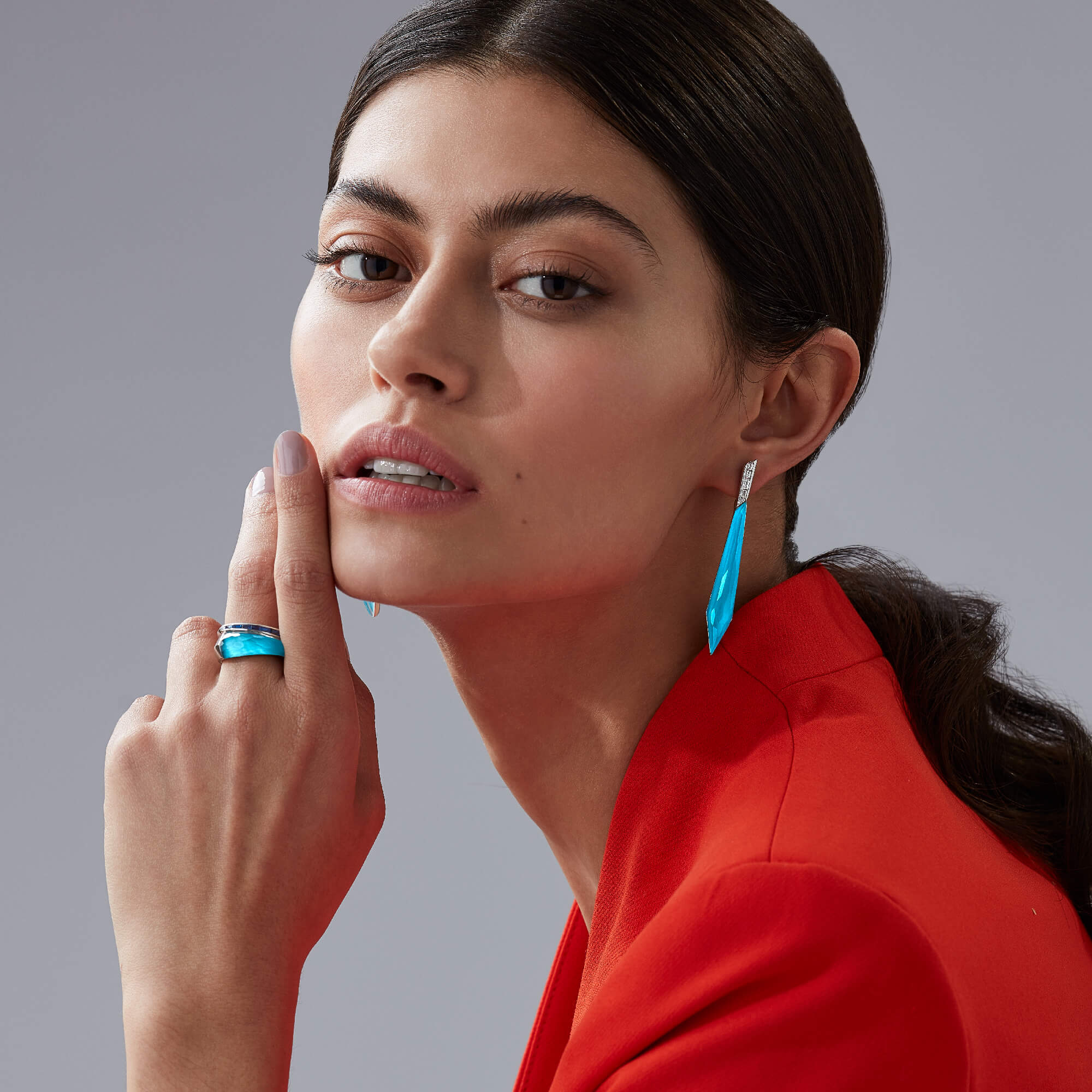 Turquoise Crystal Haze Stiletto Earrings | CH₂