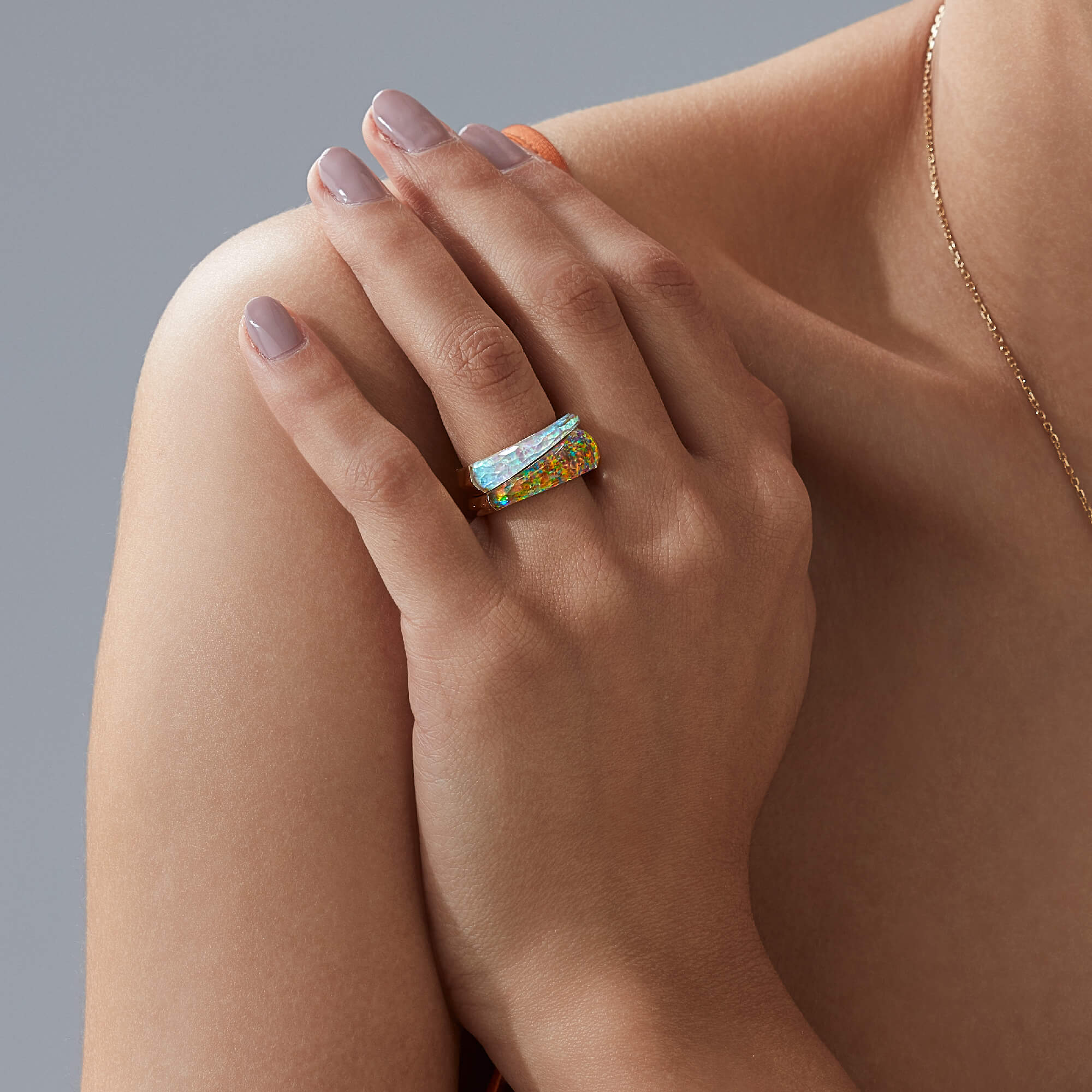 Fire Opalescent Crystal Haze Shard Stack Ring | CH₂