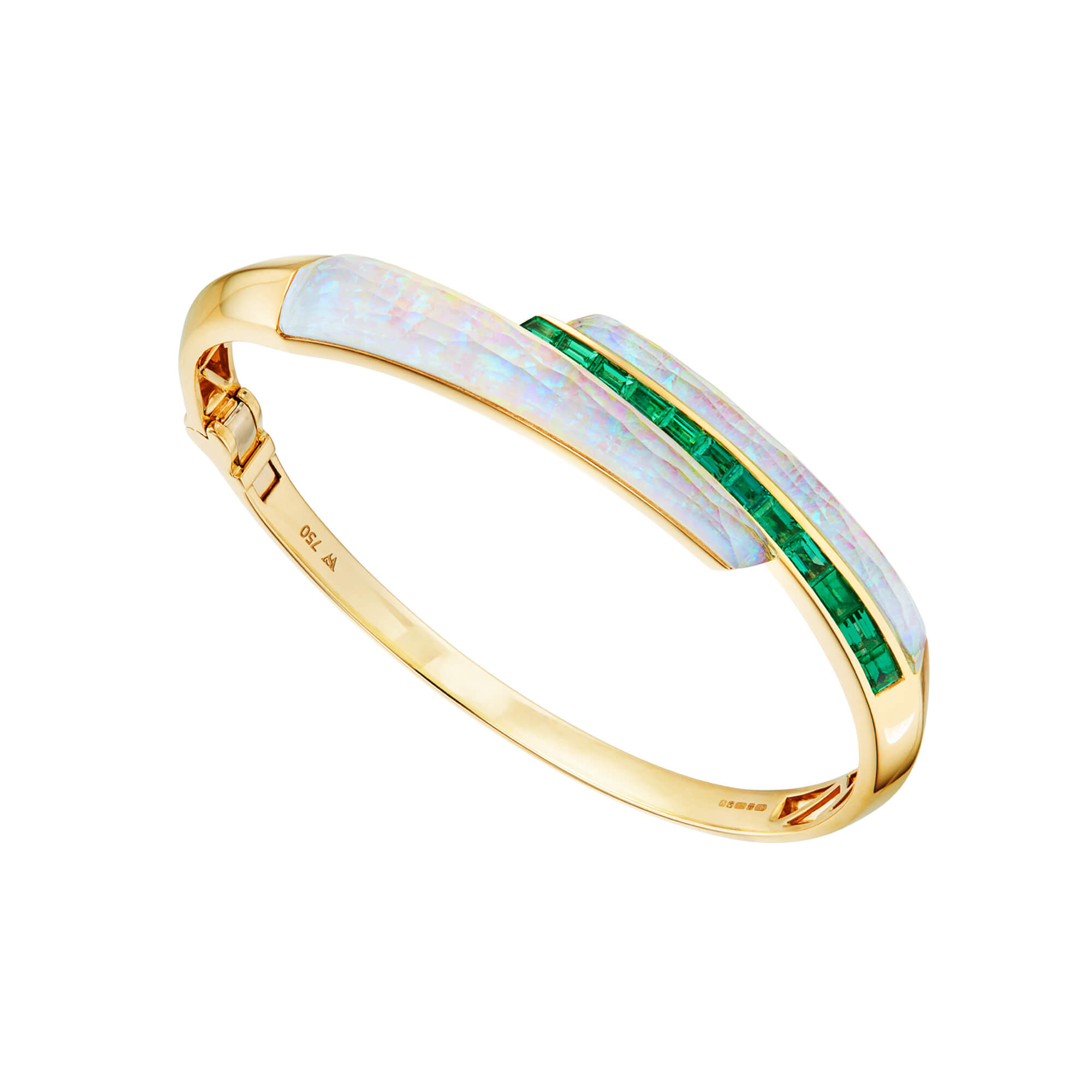 White Opalescent Crystal Haze and Emeralds Shard Bangle | CH₂