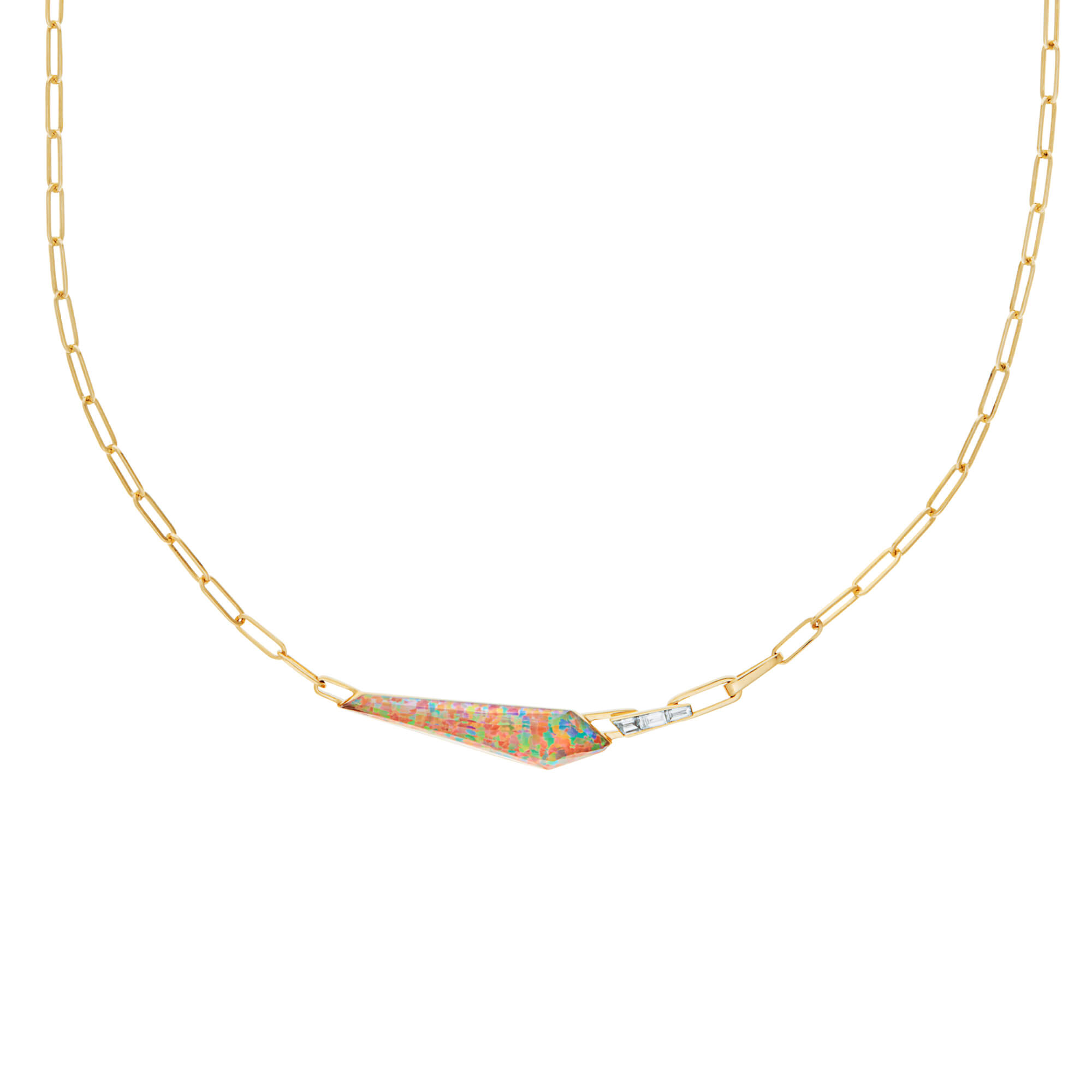 Fire Opalescent Slimline Shard Linked Choker | CH₂