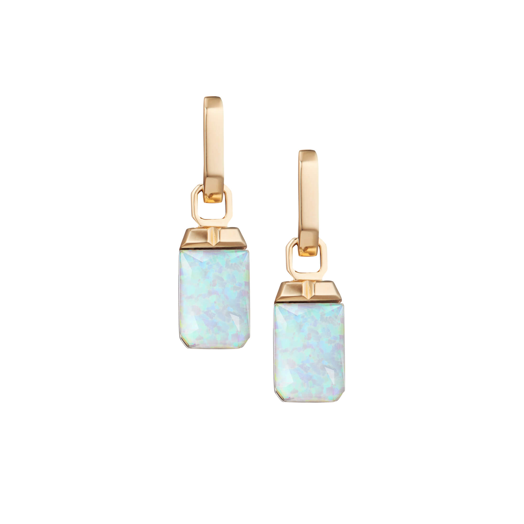 Fire Opalescent Crystal Haze Tablet Twister Earrings | CH₂
