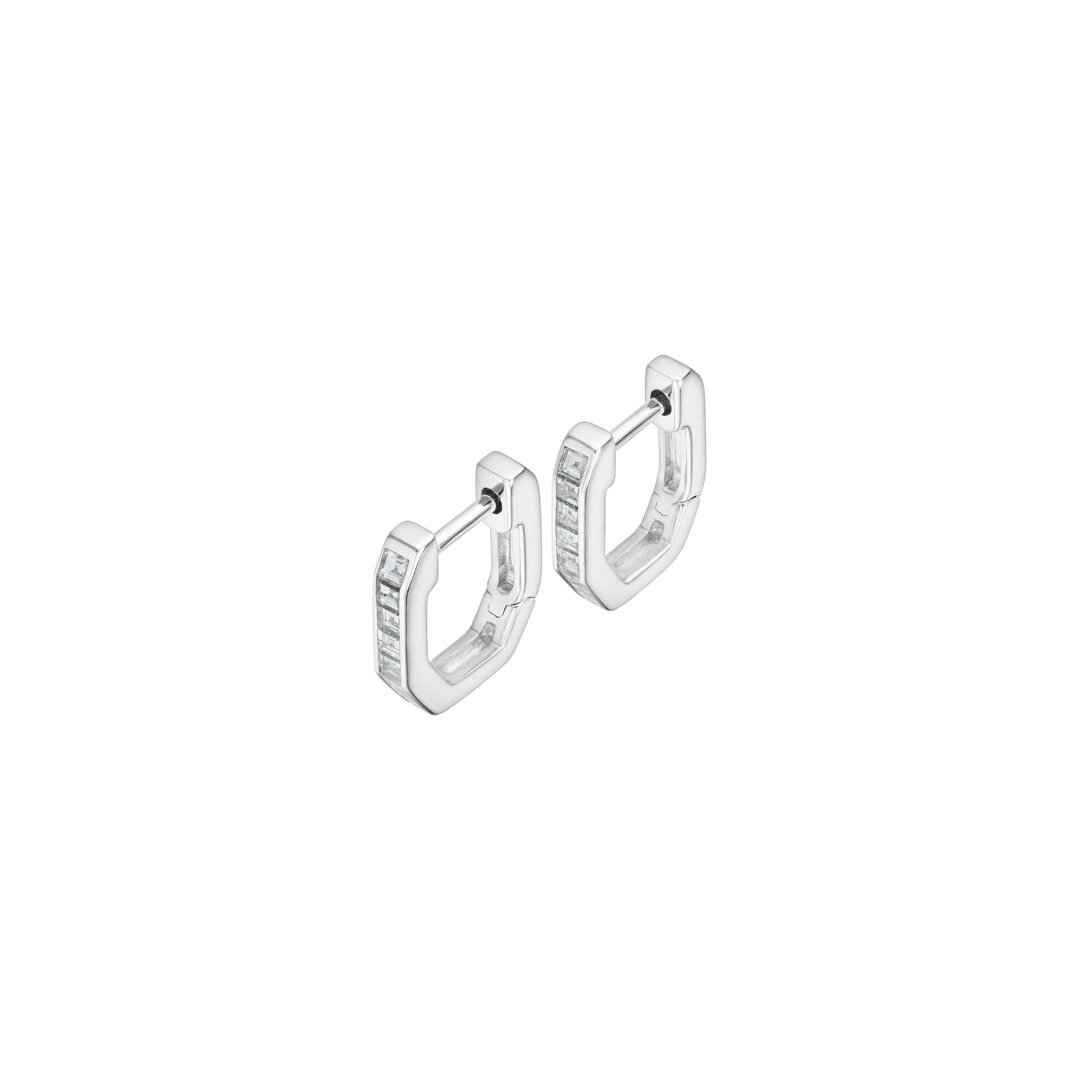 18ct White Gold and White Diamond Sleepers | CH₂