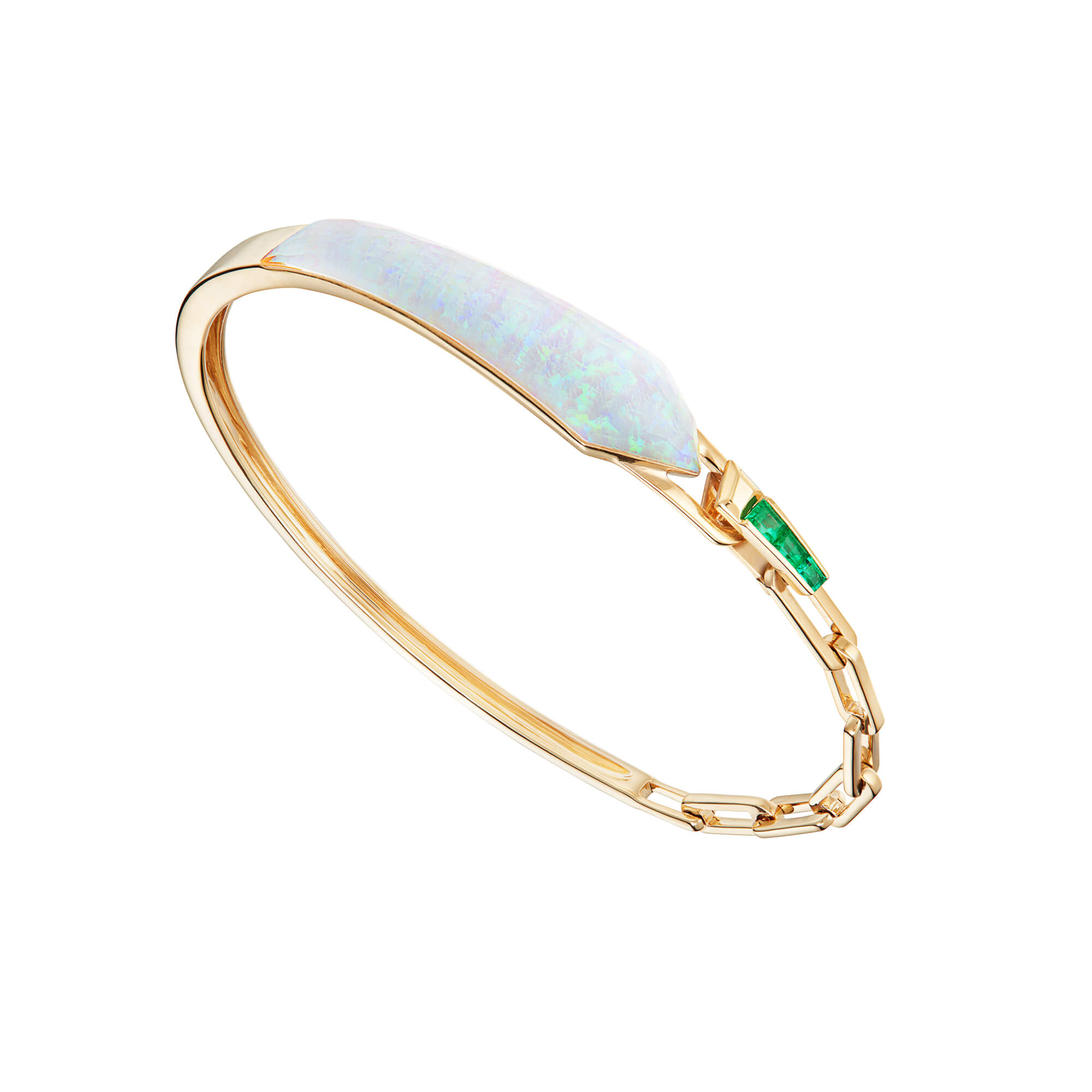 White Opalescent and Emeralds Shard Linked Bracelet | CH₂