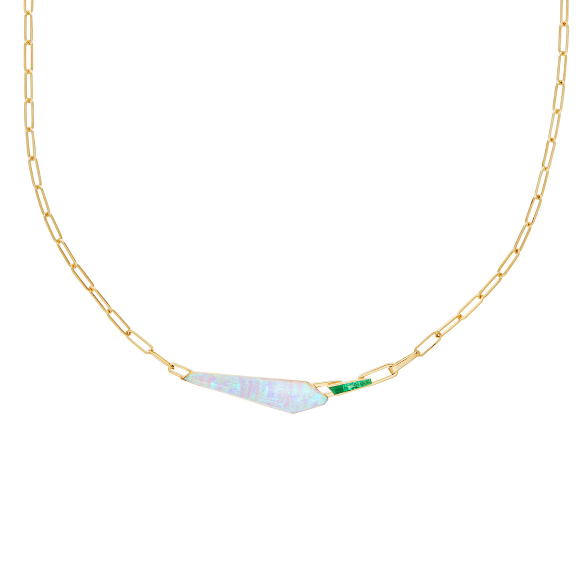 White Opalescent & Emerald Slimline Shard Linked Choker | CH₂