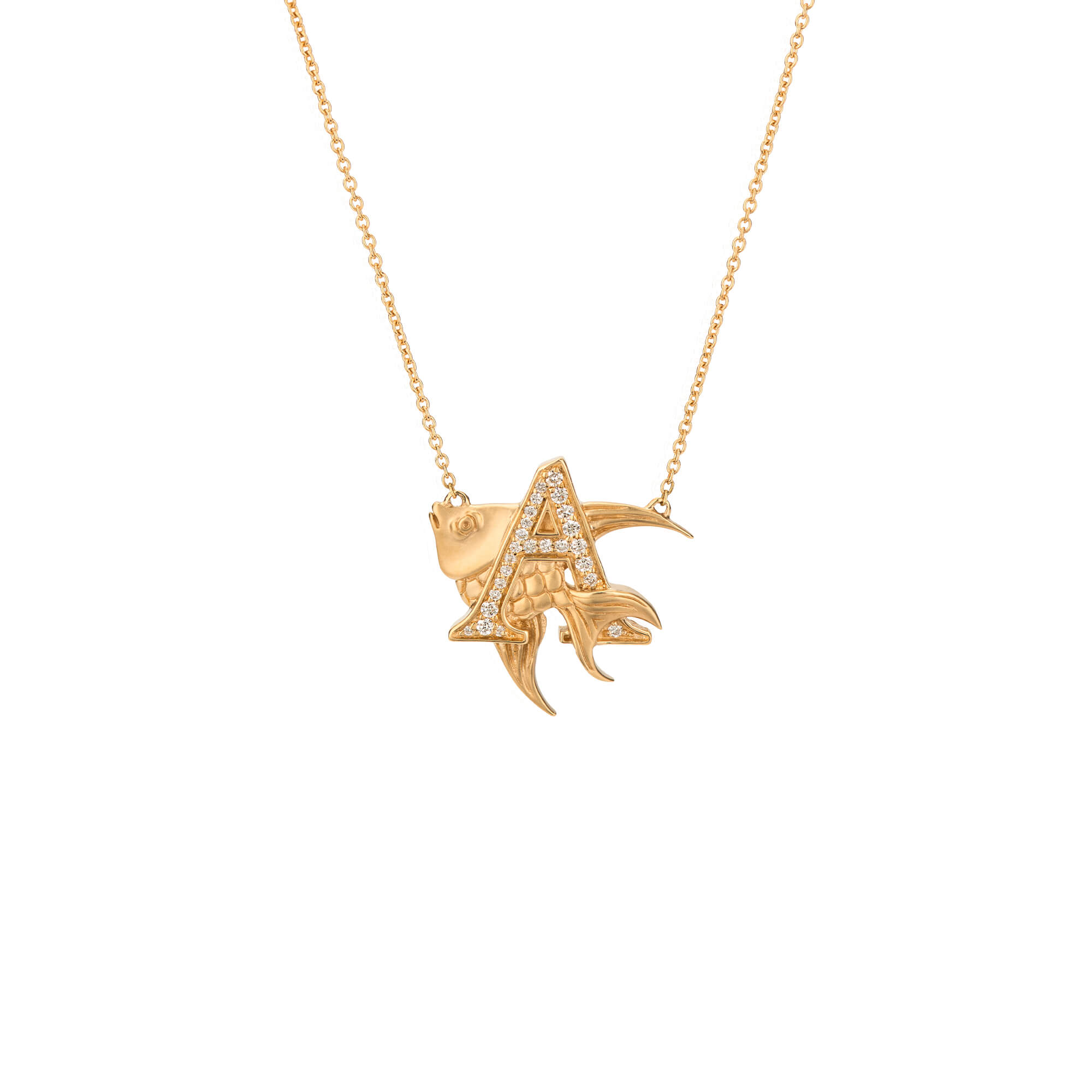 A is for Angelfish Gold Necklace | Fish Tales