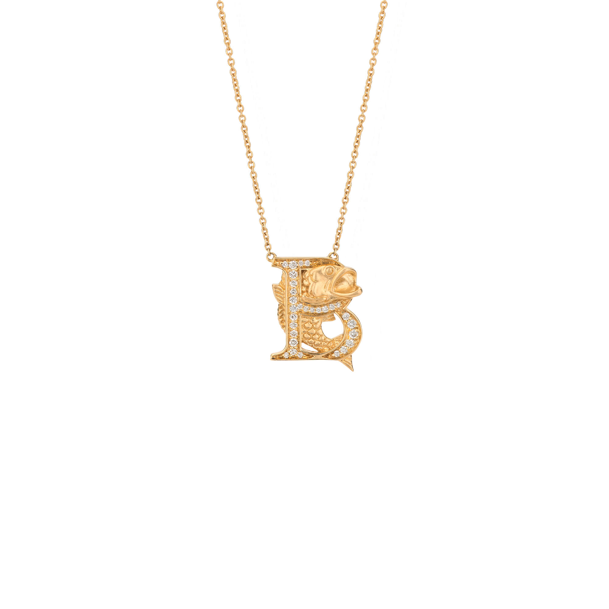 B is for Bass Gold Necklace | Fish Tales