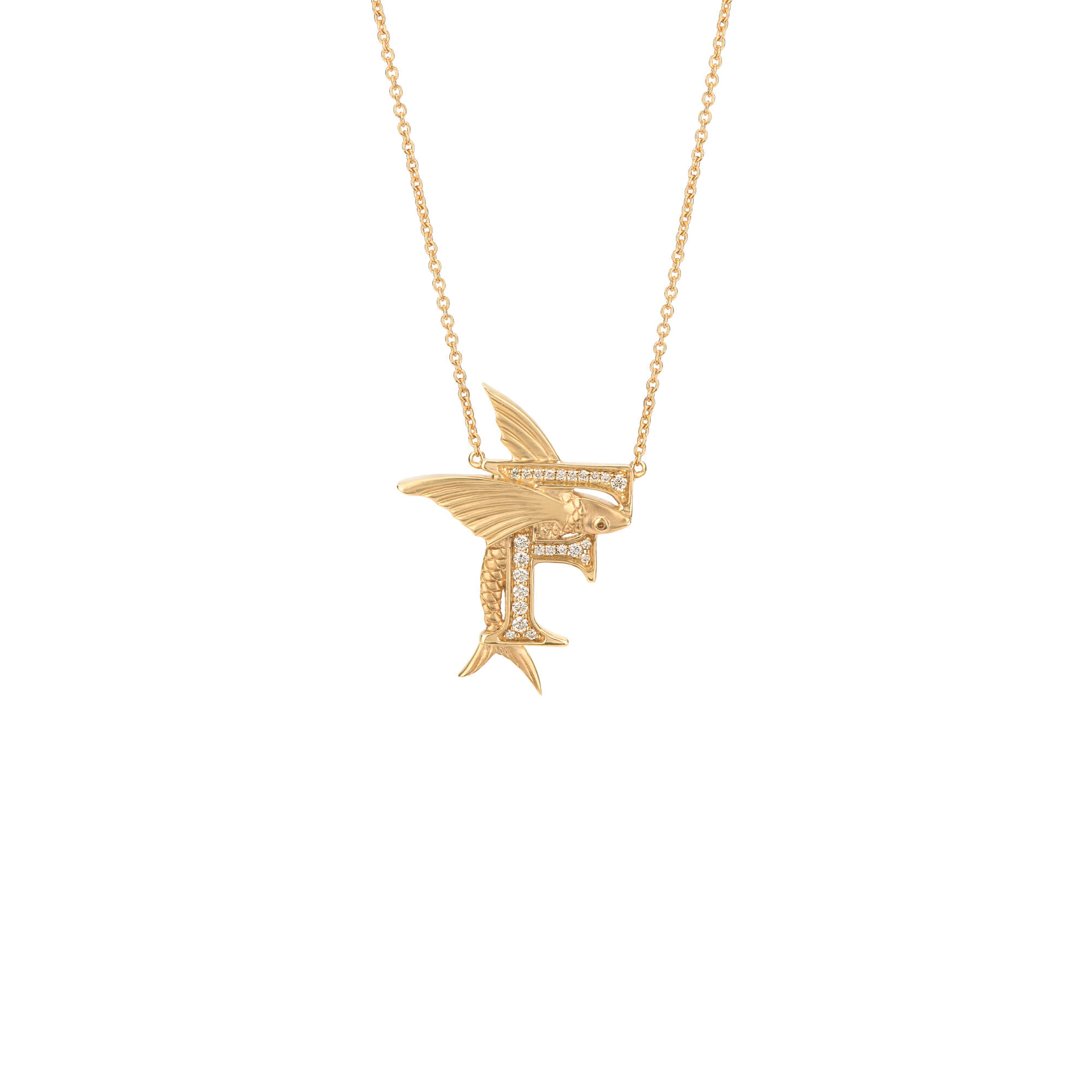 F is for Flying Fish Gold Necklace | Fish Tales