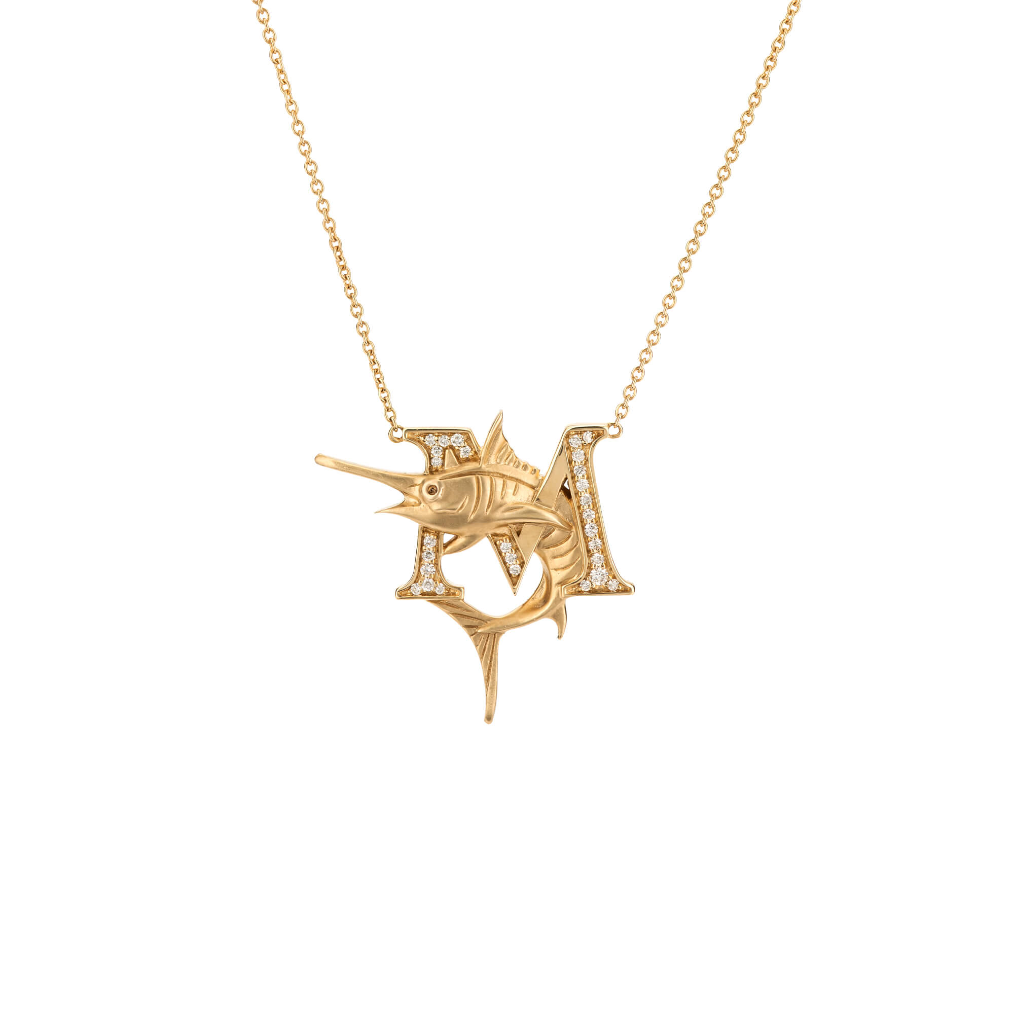 M is for Marlin Gold Necklace | Fish Tales