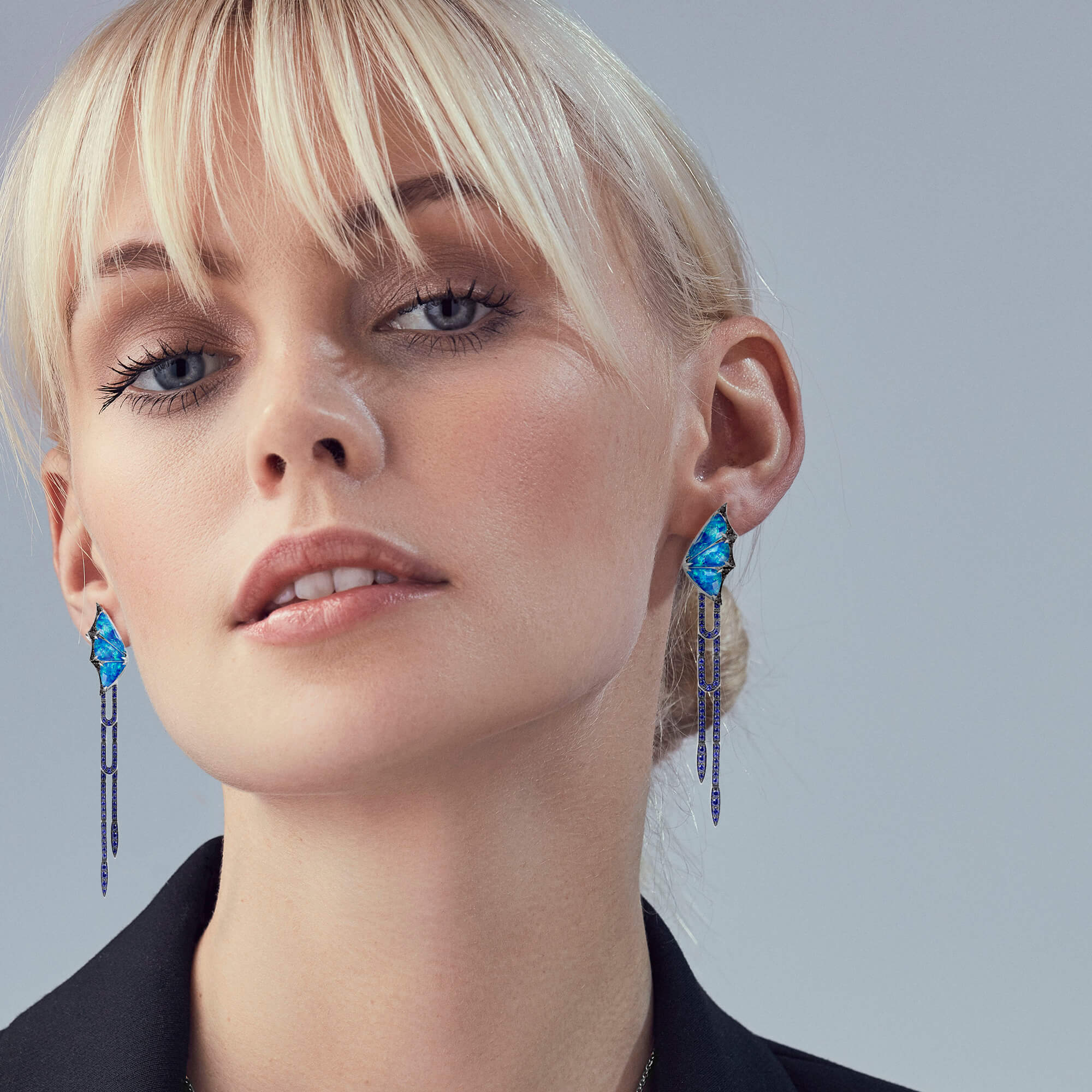 Opalescent White Gold Crystal Haze Long Earrings | Fly By Night