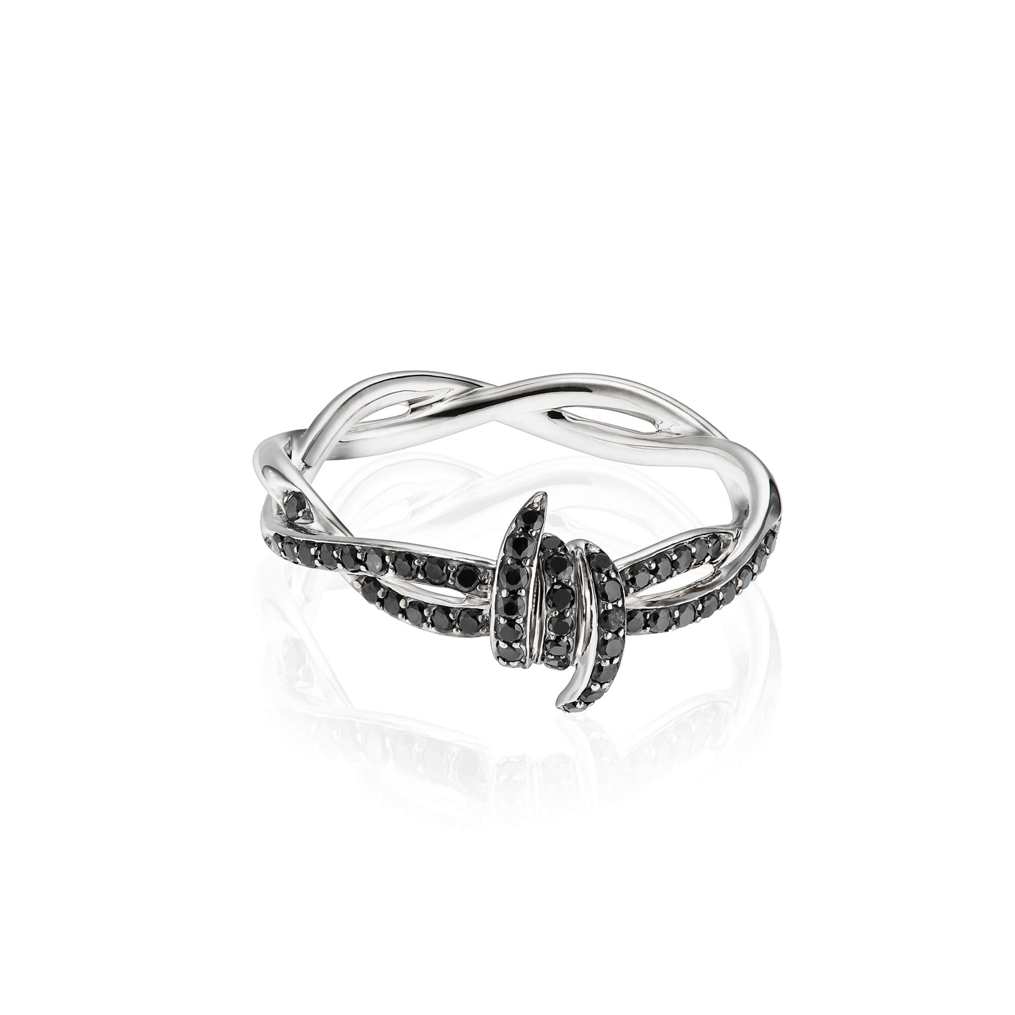 Forget Me Knot Black Diamond Stack Ring | No Regrets Chapel
