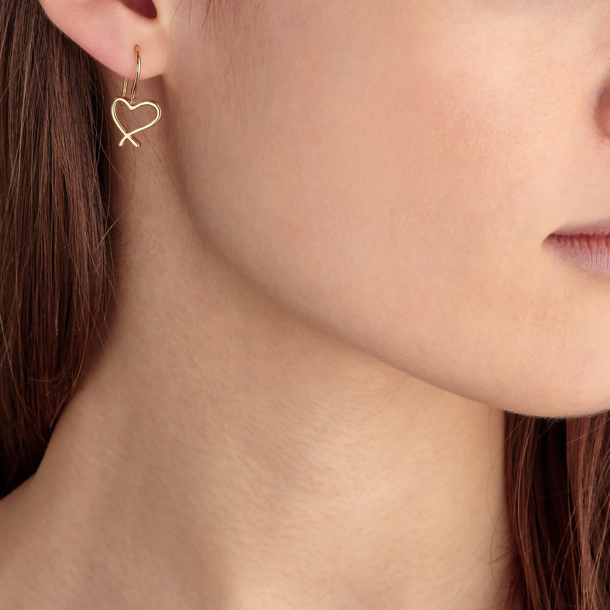 Neon Yellow Gold Heart and Kiss Earrings | I Promise To Love You